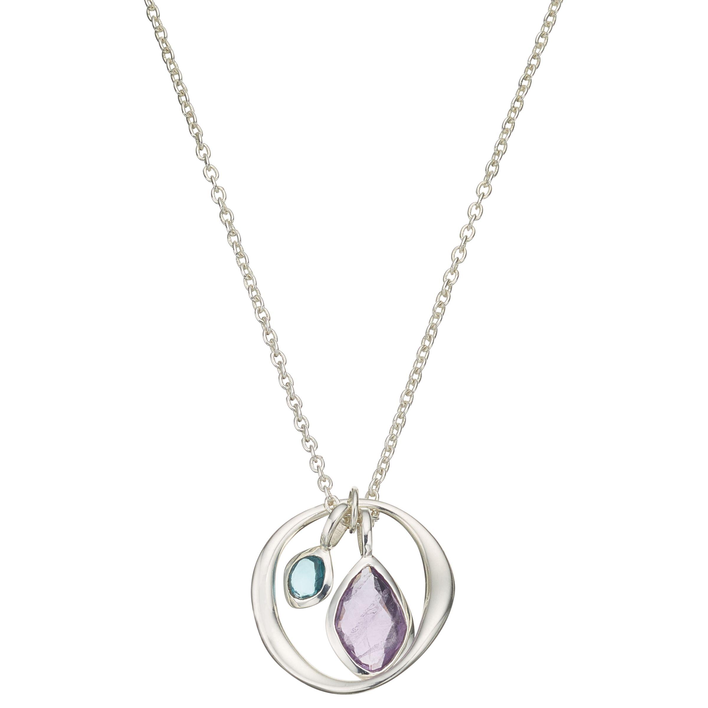 John Lewis Gemstones John Lewis Gemstones Open Circle Gemstone Pendant Necklace, Silver/Multi