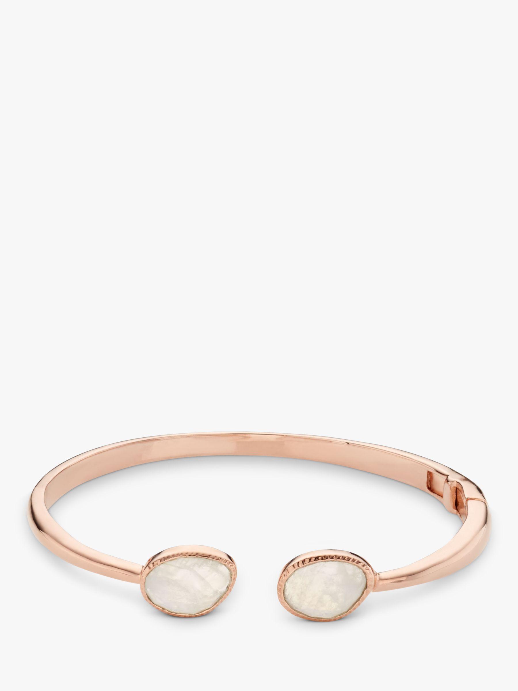 John Lewis Gemstones John Lewis Gemstones Rainbow Moonstone Hinged Cuff, Rose Gold/Multi