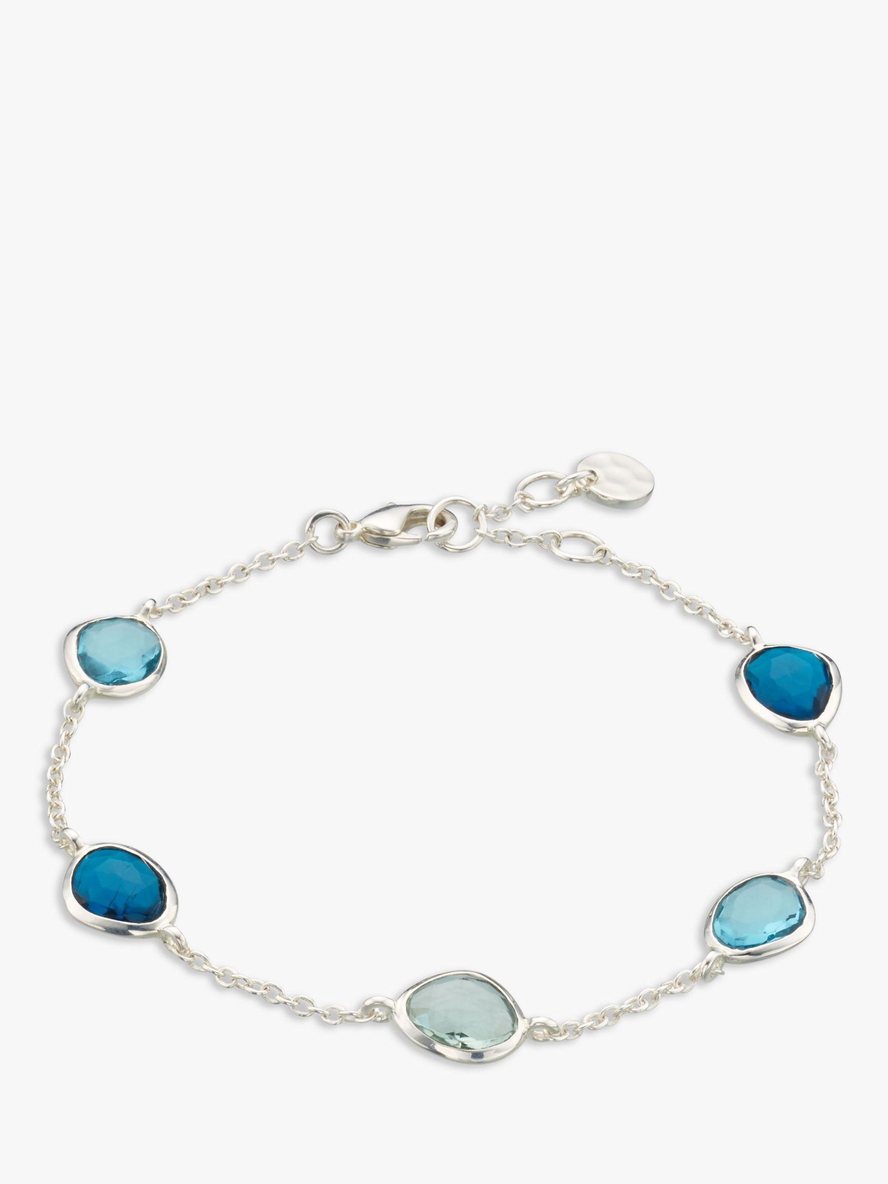 John Lewis Gemstones John Lewis Gemstones Topaz and Quartz Chain Bracelet, Silver/Multi