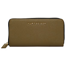 Buy Kurt Geiger Saffiano Leather Zip Around Purse, Green Online at johnlewis.com