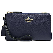 Buy Coach Double Corner Zip Pebbe Leather Purse, Navy Online at johnlewis.com