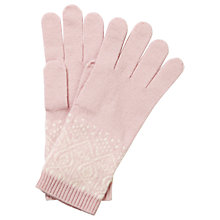 Buy Pure Collection Francesca Cashmere Fair Isle Gloves, Oyster/Soft White Online at johnlewis.com