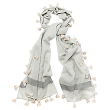 Buy Phase Eight Pom Pom Tassel Scarf, Light Grey Online at johnlewis.com