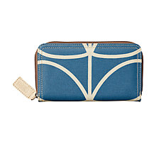 Buy Orla Kiely Giant Linear Stem Large Zip Around Purse, Marine Online at johnlewis.com