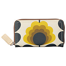 Buy Orla Kiely Summer Flower Canvas Large Zip Around Purse, Sunshine Online at johnlewis.com