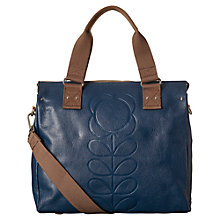 Buy Orla Kiely Leather Flower Medium Grab Bag, Indigo Online at johnlewis.com
