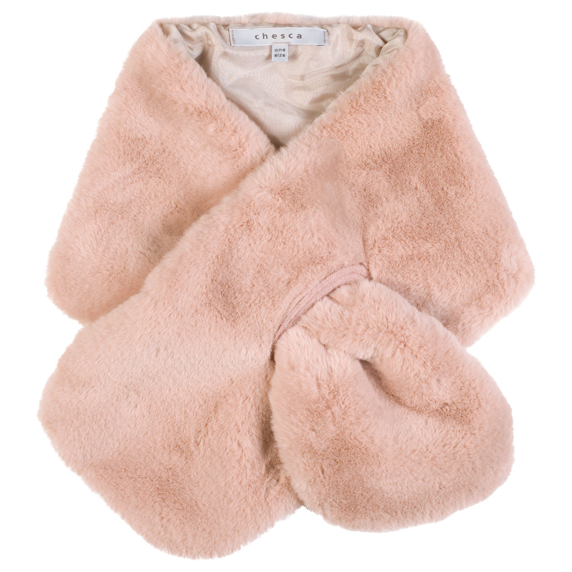 Chesca Chesca Satin Lined Faux Fur Tippet Scarf, Pink