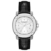 Buy Burberry BBY1206 Men's Britain Automatic Date Leather Strap Watch, Black/Silver Online at johnlewis.com