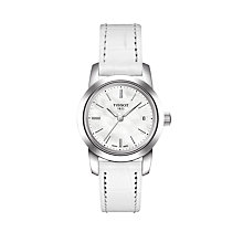 Buy Tissot T0332101611100 Women's Classic Dream Date Leather Strap Watch, White Online at johnlewis.com