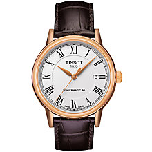 Buy Tissot T0854073601300 Men's Carson Powermatic 80 Automatic Date Leather Strap Watch, Dark Brown/White Online at johnlewis.com