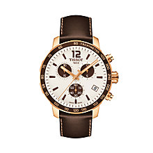 Buy Tissot T095417360370 Men's Quickster Chronograph Date Leather Strap Watch, Brown/White Online at johnlewis.com