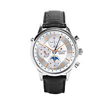Buy Maurice Lacroix LC6078-SS001-131 Men's Les Classiques Automatic Chronograph Moon Phase Leather Strap Watch, Black/Silver Online at johnlewis.com