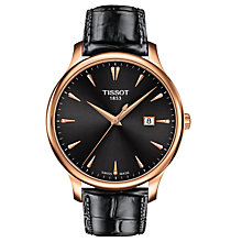 Buy Tissot T0636103608600 Women's Tradition Date Leather Strap Watch, Black Online at johnlewis.com