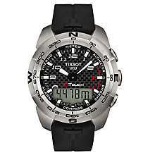 Buy Tissot T0134204720200 Men's T-Touch Expert Quartz Chronograph Altimeter Rubber Strap Watch, Black Online at johnlewis.com