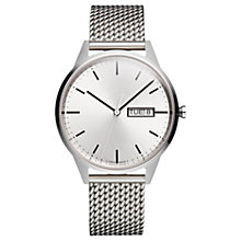 Buy Uniform Wares C40/PSI01STAMILPSI1818R Men's Day Date Bracelet Strap Watch, Silver Online at johnlewis.com