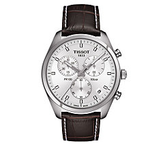 Buy Tissot T1014171603100 Men's PR 100 Chronograph Date Leather Strap Watch, Dark Brown/Silver Online at johnlewis.com