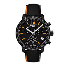 Buy Tissot T095417360570 Men's Quikster Chronograph Date Leather Strap Watch, Black Online at johnlewis.com