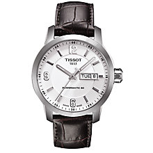 Buy Tissot T0554301601700 Men's PRC 200 Powermatic 80 Day Date Leather Strap Watch, Dark Brown/White Online at johnlewis.com