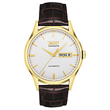 Buy Tissot T0194303603101 Men's Visodate Automatic Day Date Leather Strap Watch, Brown/White Online at johnlewis.com