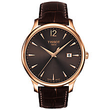 Buy Tissot T0636103629700 Women's Tradition Date Leather Strap Watch, Mahogany Online at johnlewis.com