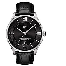 Buy Tissot T0994071605800 Men's Chemin Des Tourelles Powermatic 80 Automatic Date Leather Strap Watch, Black Online at johnlewis.com