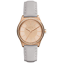 Buy Armani Exchange AX5444 Women's Crystal Leather Strap Watch, Light Grey/Gold Online at johnlewis.com