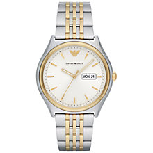 Buy Emporio Armani AR11034 Men's Day Date Bracelet Strap Watch, Silver/Gold Online at johnlewis.com