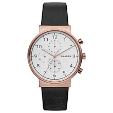 Buy Skagen Men's Ancher Chronograph Leather Strap Watch Online at johnlewis.com