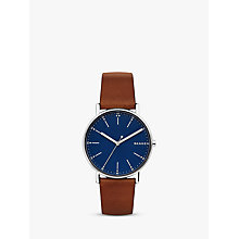 Buy Skagen Men's Signatur Leather Strap Watch Online at johnlewis.com