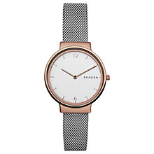 Buy Skagen SKW1086 Women's Ancher Mesh Bracelet Strap Watch, Silver/White Online at johnlewis.com