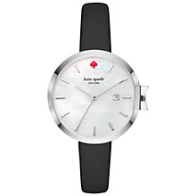 Buy kate spade new york KSW1269 Women's Park Row Date Leather Strap Watch, Black/White Mother of Pearl Online at johnlewis.com