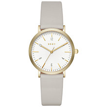 Buy DKNY NY2507 Women's Minetta Leather Strap Watch, Grey/White Online at johnlewis.com