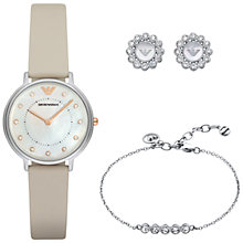Buy Emporio Armani AR80001 Women's Watch, Flower Stud Earrings and Crystal Friendship Bracelet Set, Nude/Mother of Pearl Online at johnlewis.com