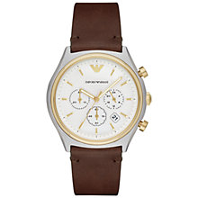 Buy Emporio Armani AR11033 Men's Chronograph Date Leather Strap Watch, Brown/White Online at johnlewis.com