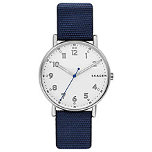 Buy Skagen SKW6356 Men's Signatur Fabric Strap Watch, Navy/White Online at johnlewis.com