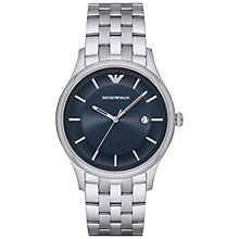 Buy Emporio Armani AR11019 Men's Date Bracelet Strap Watch, Silver/Midnight Blue Online at johnlewis.com
