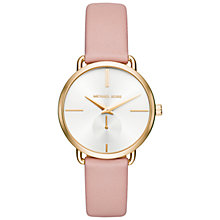 Buy Michael Kors MK2659 Women's Portia Leather Strap Watch, Blush/White Online at johnlewis.com