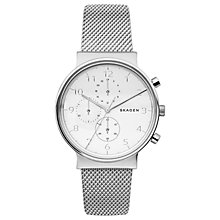 Buy Skagen SKW6361 Men's Ancher Chronograph Bracelet Strap Watch, Silver/White Online at johnlewis.com