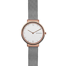 Buy Skagen SKW2616 Women's Ancher Mesh Bracelet Strap Watch, Silver/White Online at johnlewis.com