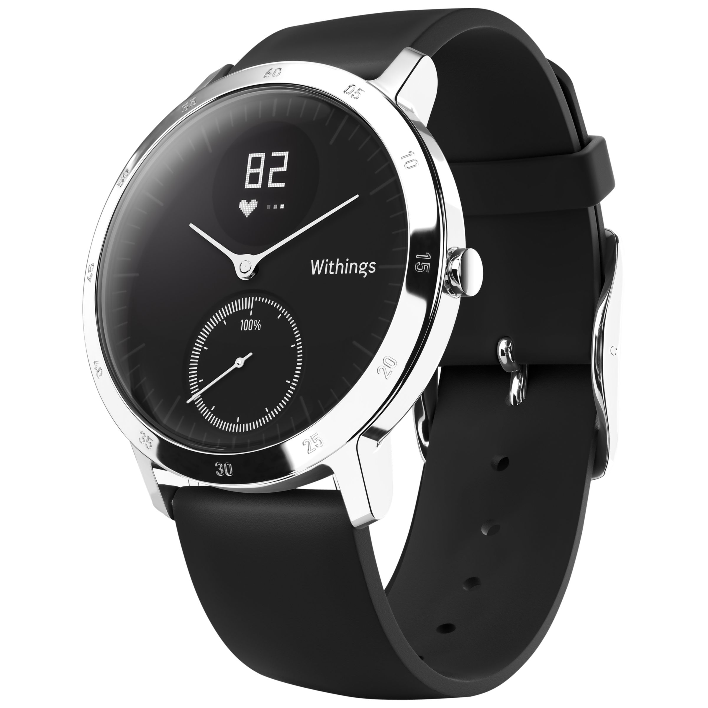 Withings Withings Steel HR Activity Tracking Watch, 40mm, Black/Black