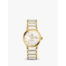 Buy Rado R30080752 Women's Centrix Diamond Date Bi-Material Bracelet Strap Watch, White/Gold Online at johnlewis.com