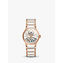 Buy Rado R30248902 Women's Centrix Automatic Skeleton Diamond Bi-Material Bracelet Strap Watch, Rose Gold/White Online at johnlewis.com