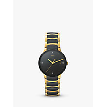 Buy Rado R30929712 Unisex Centrix Diamond Date Bi-Material Bracelet Strap Watch, Black/Gold Online at johnlewis.com