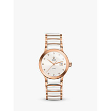 Buy Rado R30183742 Women's Centrix Diamond Date Automatic Bi-Material Bracelet Strap Watch, Rose Gold/White Online at johnlewis.com