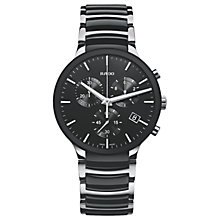 Buy Rado R30130152 Men's Centrix Chronograph Date Bi-Material Bracelet Strap Watch, Silver/Black Online at johnlewis.com