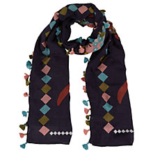 Buy White Stuff Fly By Scarf, Wallpaper Blue Online at johnlewis.com
