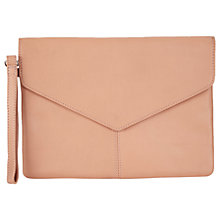 Buy Miss Selfridge Leather Envelope Clutch Bag, Nude Online at johnlewis.com