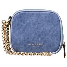 Buy Kurt Geiger Leather Square Chain Purse, Blue Online at johnlewis.com