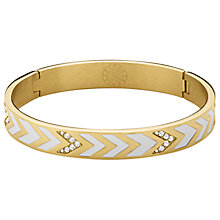 Buy Dyrberg/Kern Chevron Crystal Enamel Bangle, Gold/White Online at johnlewis.com