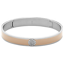 Buy Dyrberg/Kern Hinged Monogram Enamel Bangle, Silver/Sand Online at johnlewis.com